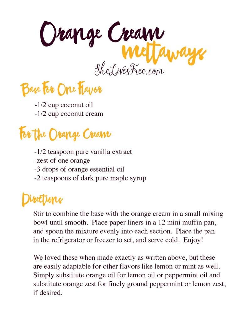 Orange Cream Meltaways Dessert Recipe and Printable