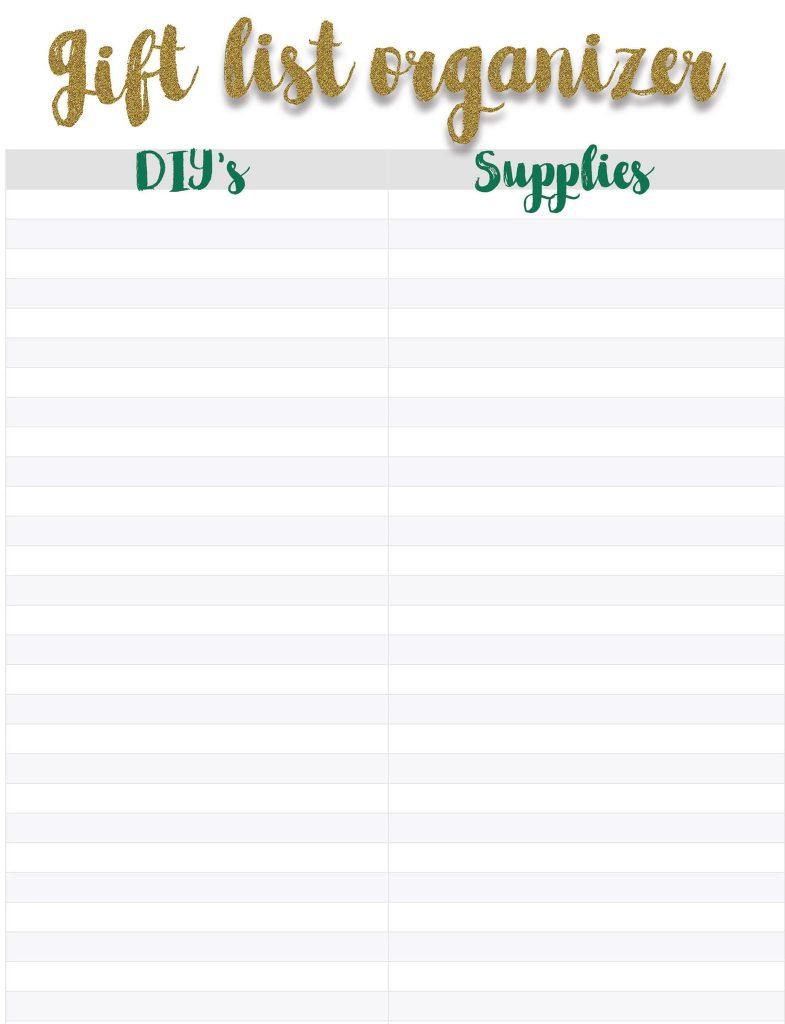 Free printable gift list organizer